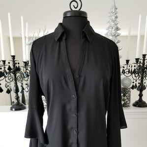Express Black Portfolio Slit Flowing Sleeve Blouse
